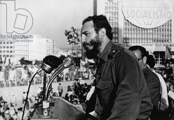 Fidel Castro Addressing a Rally Celebrating an Anniversary of the Cuban Revolution of 1959, Cuba.