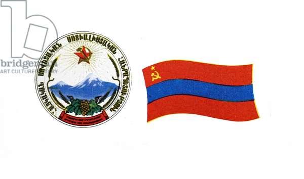 The flag of the Armenian Soviet Socialist Republic and Emblem