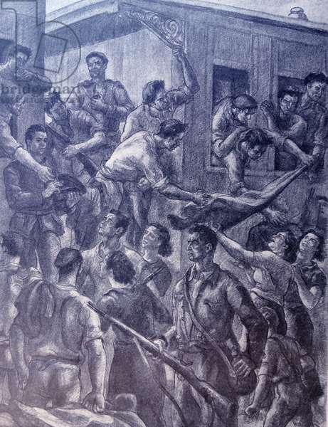 Propaganda illustration depicting drunken Anarchist militia seizing a train