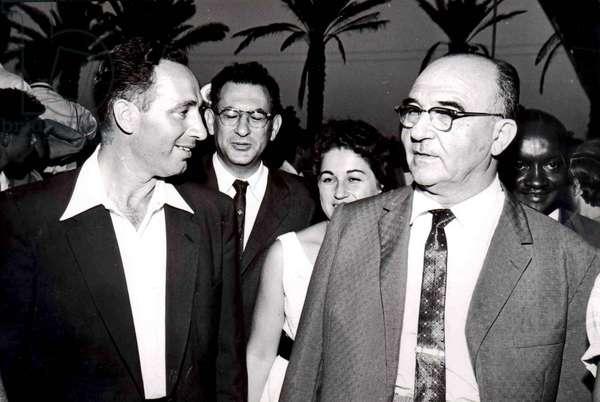 Shimon Peres with Israel's Prime Minister Levi Eshkol, 1950