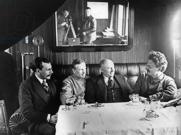 Leon Trotsky (Far Right) Entertains Unidentified Officials in his Railway Carriage Office, Soviet Union.
