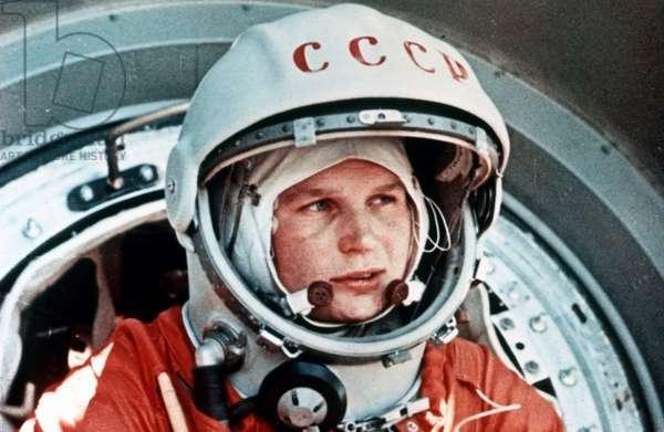 Vostok 6, Soviet Cosmonaut Valentina Tereshkova, the First Woman in Space, in Front of the Vostok Capsule, June 1963.