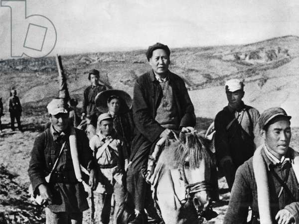 Chairman Mao Zedong (Tse Tung) on Horseback During the Chinese Civil War Against the Kuomintang (Nationalist) Forces, Shenzi Province, Northern China, 1947.