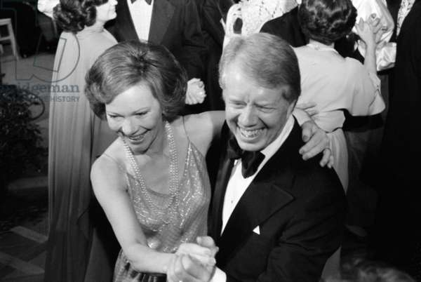 President Jimmy Carter and First Lady Rosalynn Carter dancing, 1977