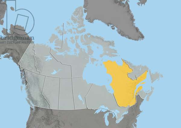 Province of Quebec, Canada, Relief Map