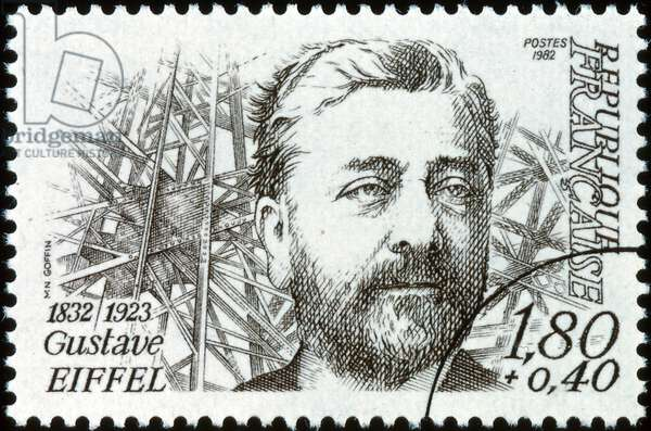 French postage stamp celebrating Gustave Eiffel (1832 – 1923), a French civil engineer.