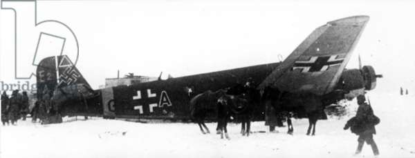 Captured Airplane of the German 'Blue' Division Near Stalingrad in December 1942.