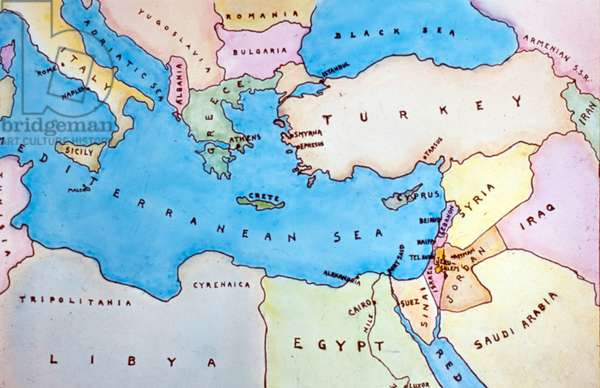 Map of the Eastern Mediterranean and surrounding countries.