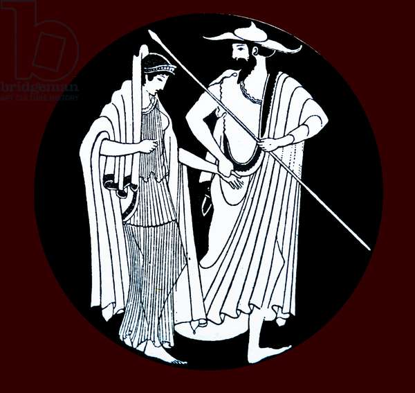 Greek vase painting representing Menelaus leading his wife Helen, the cause of the Trojan War, back to Sparta