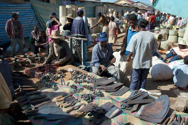 Farm Implements For Sale at the Weekly Market in Fianarantsoa, Madagascar (photo)