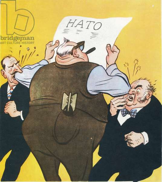 Elbowed Out', Britain and France Elbowed Out of Leadership Role in Nato by the Us, Anti-Us Propaganda Cartoon by Boris Yefimov Published in Soviet Magazine Krokodil, USSR, 1962.