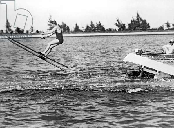 Snow Skis On Water, Miami Beach, Florida, 1928 (b/w photo)
