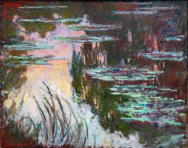 Water-Lilies, Setting Sun, 1907 (oil on canvas)