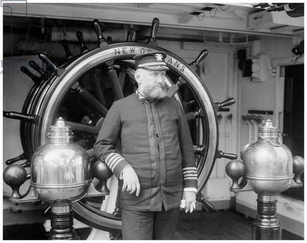 USS New Orleans, Captain Edwin Longnecker (b/w photo)