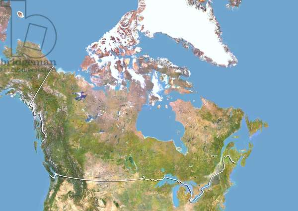 Canada, Satellite Image With Bump Effect, With Border