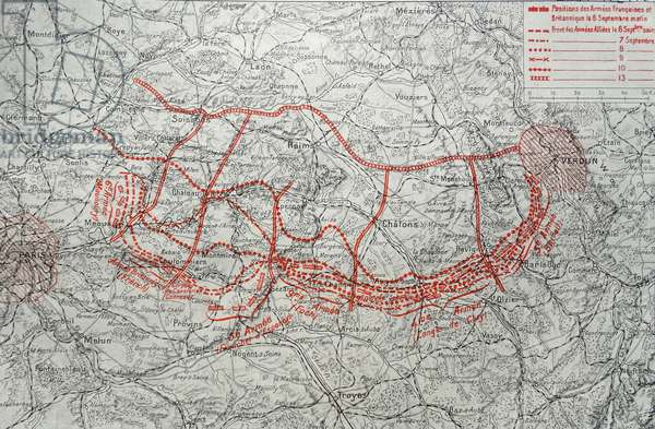 Map depicting the German advance into France, 1914