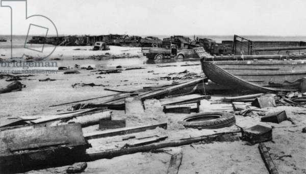 Abandoned Equipment at Dunkirk, May 1940 (b/w photo)