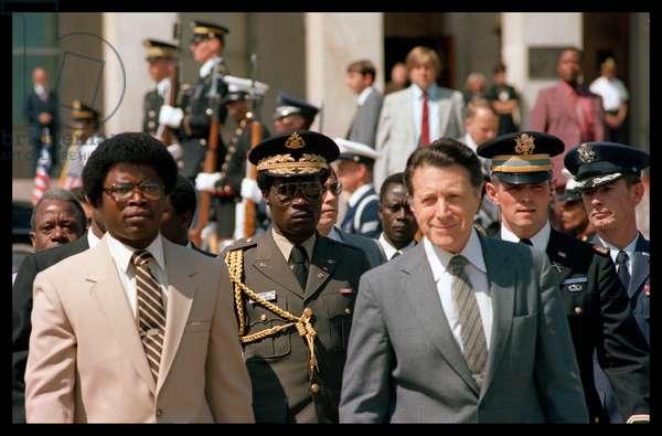US Secretary of Defense, Caspar Weinberger with Liberian leader, Samuel Doe
