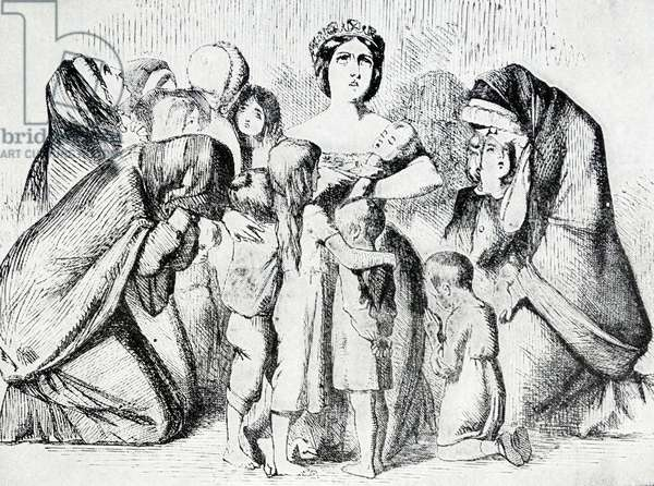 Cartoon depicting Queen Victoria of Great Britain comforting widows and orphans, 1854
