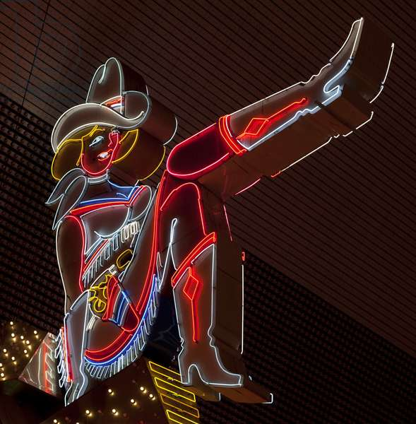 Glitter Girl neon sign at the Freemont Street Experience, Las Vegas, Nevada 2006 (photo)