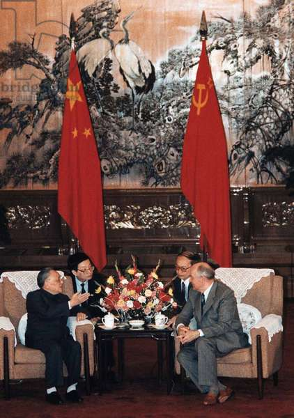 Talks between Soviet Russian Leader Mikhail Gorbachev and China's Communist leader Deng Xiaoping in May 1989.