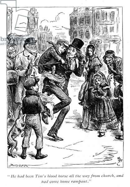 Illustration for A Christmas Carol Charles Dickens (1812-1870). Bob Cratchet carries tiny Tim on his shoulders