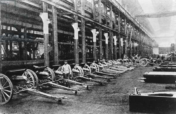 Petrograd, Russia, 1916, Munitions Factory, Artillery Pieces, World War One.