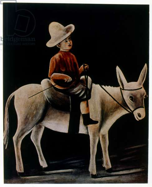 Small boy on a donkey, 1904, by Niko Pirosmani (1862–1918), Russian, Georgian primitivist painter, who posthumously rose to prominence.