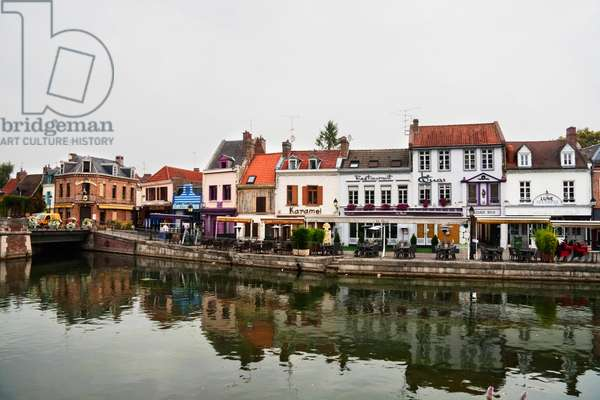 Houses Along A Canal, Amiens, Somme, France (photo)