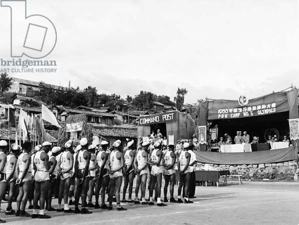 Korean War. The closing ceremonies of the Inter-company Olympics of Camp No. 5. August 1953.
