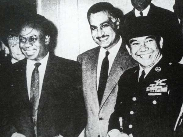 Non-Aligned movement meeting with Ghana's Kwame Nkrumah, Egypt's Gamal Nasser and Indonesia's Ahmed Sukarno, 1960