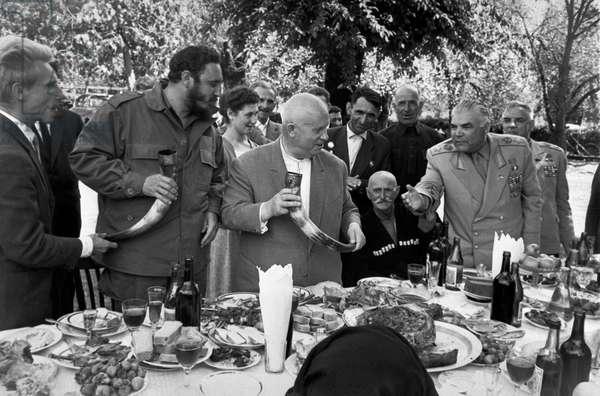 Fidel Castro Ruz, Nikita Khrushchev And Rodion Malinovsky In Georgia