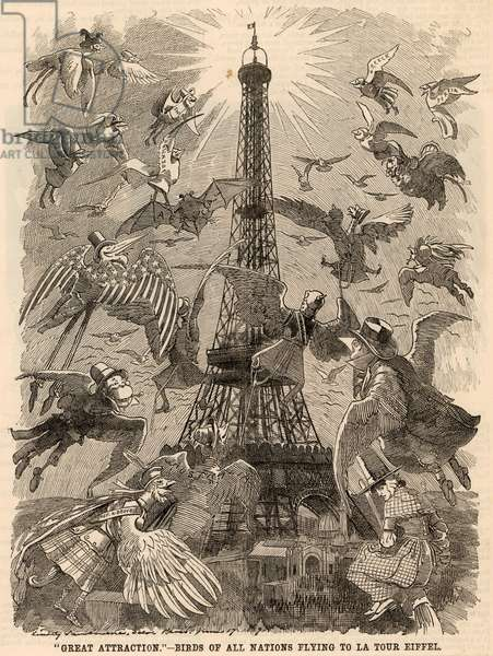 Birds of all Nations Flying to Eiffel Tower