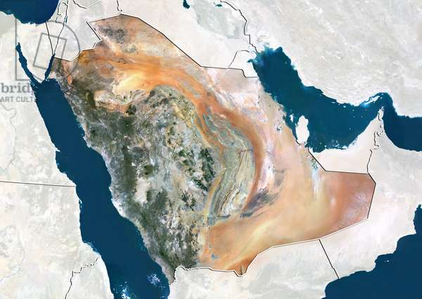 Saudi Arabia, True Colour Satellite Image With Border and Mask