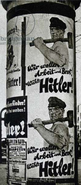 Nazi election propaganda poster during the German election of 1932