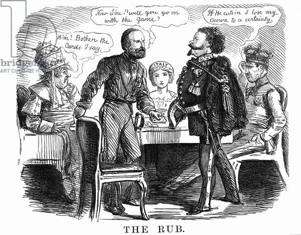 Unification of Italy: Garibaldi asking Victor Emmanuel II if he will carry on the 'game' for Italy, while on left Pope Pius IX realises he has a weak hand and on the right Leopold II, Grand Duke of Tuscany, sees himself losing his crown. Cartoon from Punch, 27 October 1860. Wood engraving.