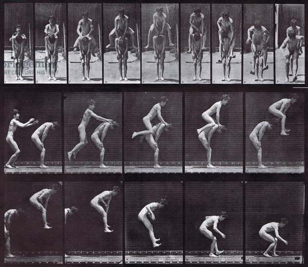 Locomotion plate depicting a nude boy playing leapfrog