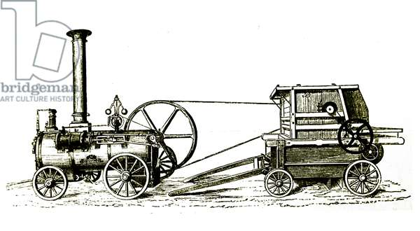 Garret & Son's portable steam engine driving a threshing machine