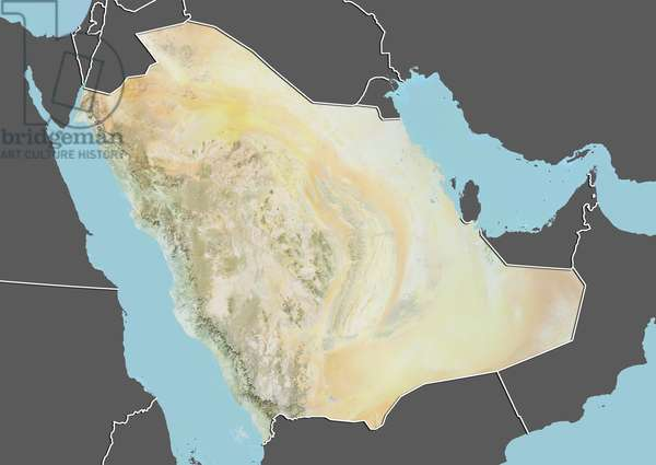 Saudi Arabia, Relief Map with Border and Mask