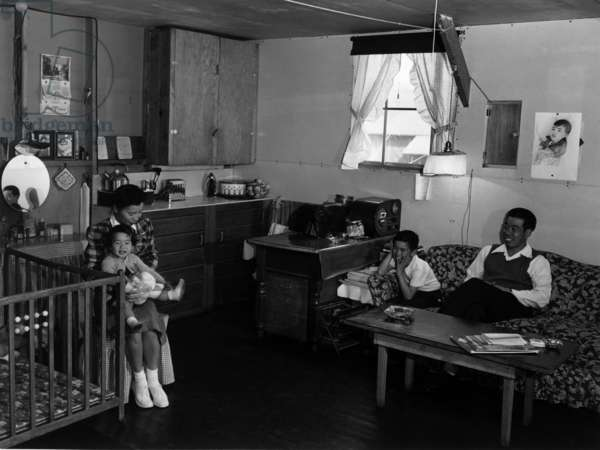 Mr. & Mrs. Richard Izuno and children, Manzanar Relocation Center, California, 1943 (photo)