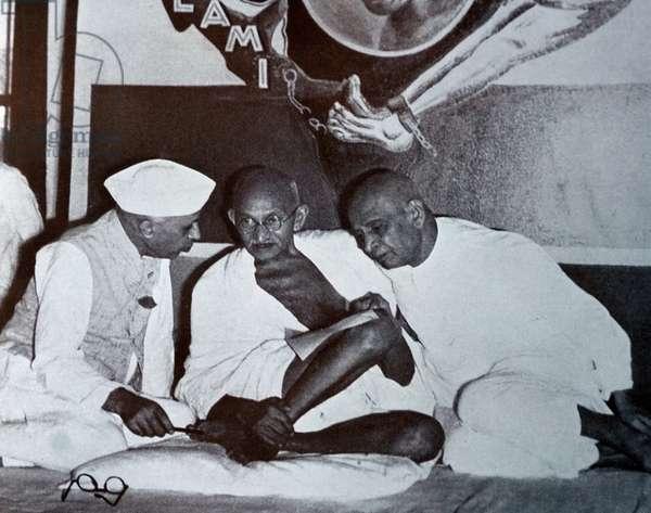 Mohandas Karamchand Gandhi with Sardar Patel and Jawaharlal Nehru