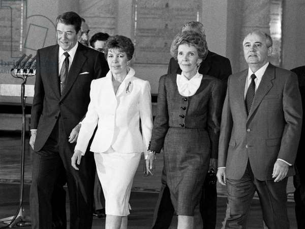 Ronald Reagan With Wife Nancy And Mikhail Gorbachev With Wife Raisa During The Official Meeting
