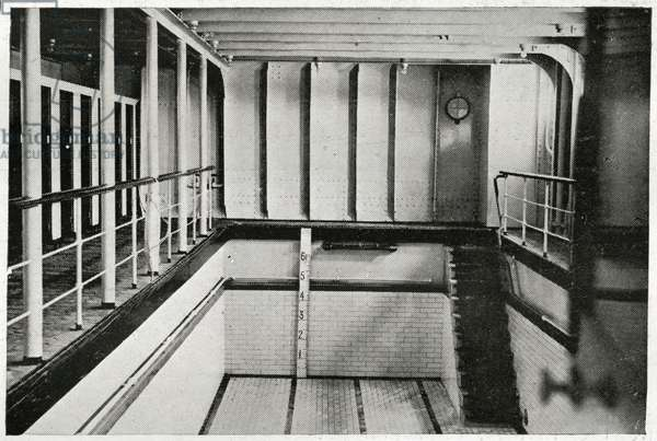 The swimming bath on Titanic, from 'The Sphere', 20 April 1912 (litho) (detail of 450874)