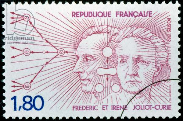 French postage stamp celebrating Irene Joliot-Curie  and Frederic Joliot-Curie. They were awarded the Nobel Prize in Chemistry in 1935 for their discovery of artificial radioactivity.