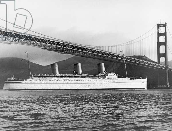 Cruise Ship Under SF Bridge, San Francisco, California, April 29, 1937 (b/w photo)