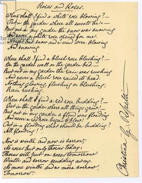 Manuscript of 'Roses and Roses', the poem by Christina Georgina Rosetti (1830-1894).