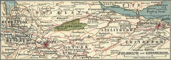 Map of Glasgow and Edinburgh