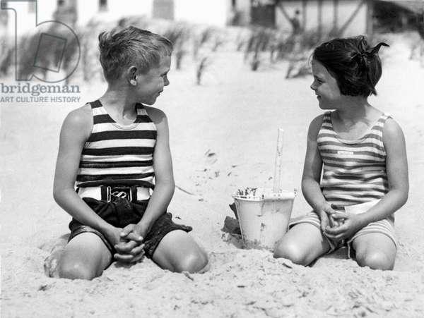 Children At The Beach, Narragansett Pier, Rhode Island, c.1929  (b/w photo)