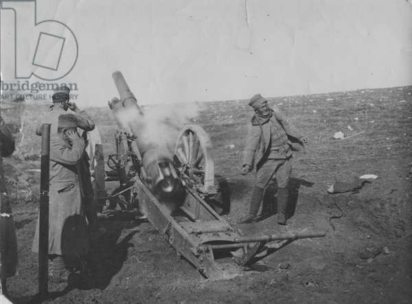 Serbian artillery in action on the plain of Kosovo, 1915 (b/w photo)