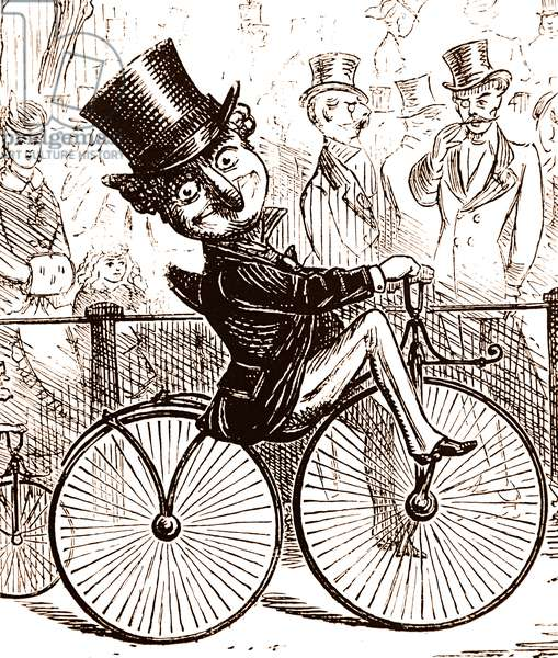 Mr Punch riding a 'Boneshaker' bicycle